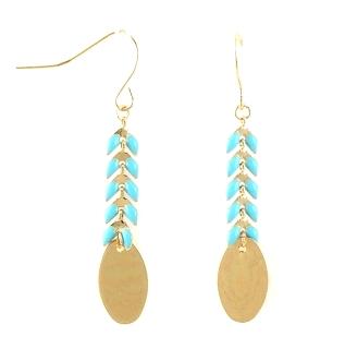 boucles d'oreille - métal et bleu