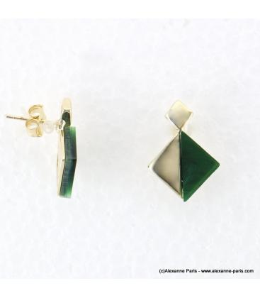 boucles d'oreilles minimaliste marbre