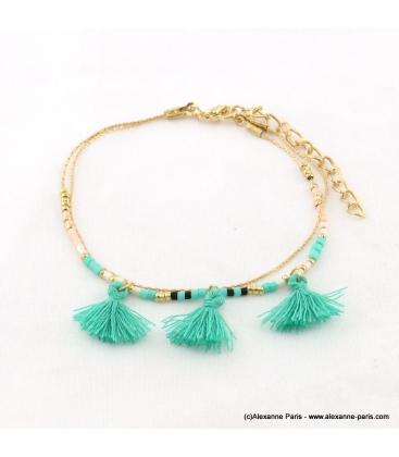 bracelet minimaliste pompon