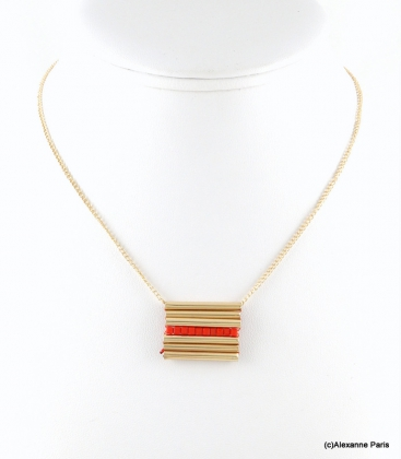 collier rectangle géométrique